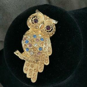 Vintage MONET Owl Brooch
